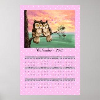 Love owls calendar 2015 poster