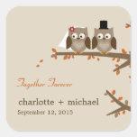 Love Owls Fall Wedding Favour Sticker