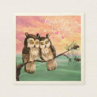 Love owls hearts pink paper napkins