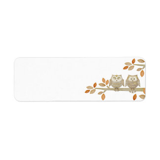 Love Owls in Tree Label Return Address Label