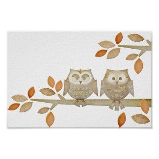 Love Owls in Tree Poster