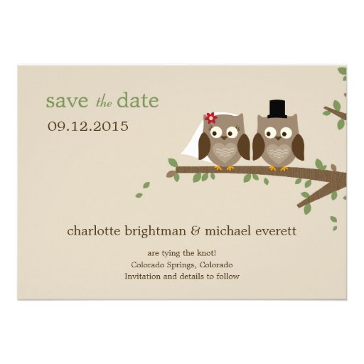 Love Owls Save The Date /Wedding Announcements Custom Invites