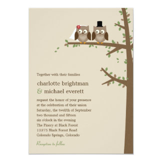 "Love Owls Wedding Invitation 5"" X 7"" Invitation Card"