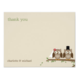 "Love Owls Wedding Thank You Cards 4.25"" X 5.5"" Invitation Card"