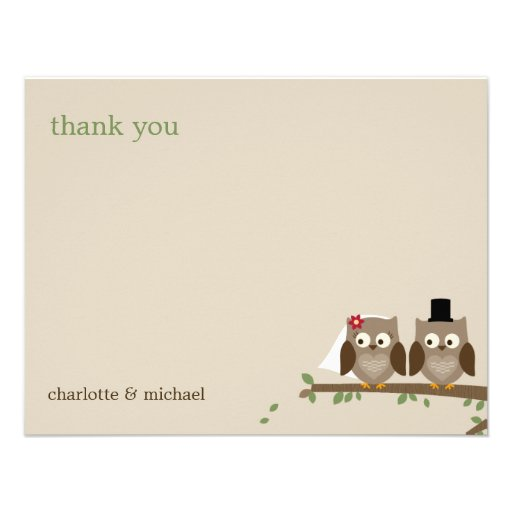 Love Owls Wedding Thank You Cards Custom Invitations