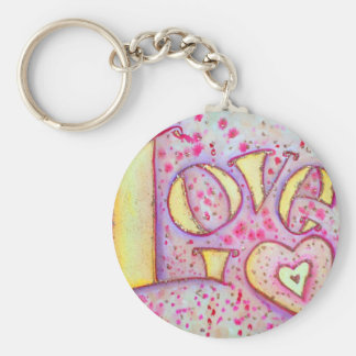 Love Painting Basic Round Button Keychain