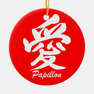 love papillon ceramic ornament