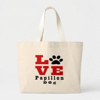 Love Papillon Dog Designes Large Tote Bag