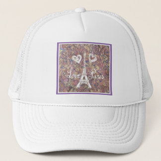 LOVE PARIS EIFFEL AND HEART ON WATERCOLOR TRUCKER HAT