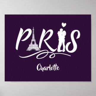 Love Paris Eiffel Tower Super Cool Personalized Poster