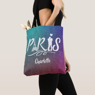 Love Paris Eiffel Tower Super Cool Personalized Tote Bag