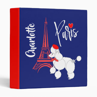 Love Paris French Poodle Super Cute Personalized Binders