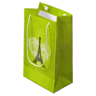 Love Paris Green Glitter Small Gift Bag