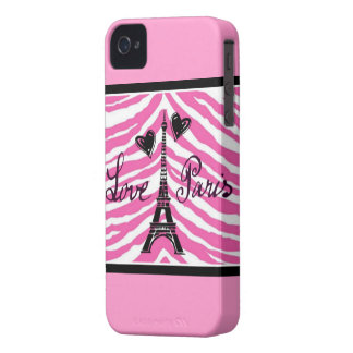 LOVE PARIS HEARTS AND EIFFEL ZEBRA PRINT iPhone 4 COVER