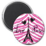 LOVE PARIS PINK ZEBRA EIFFEL TOWER HEART PRINT MAGNETS