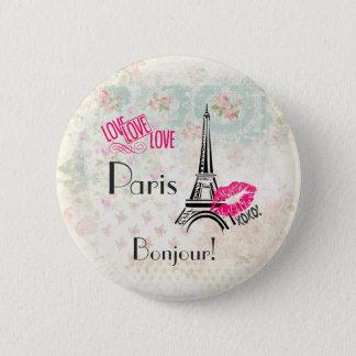Love Paris with Eiffel Tower on Vintage Pattern 2 Inch Round Button