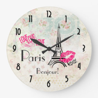 Love Paris with Eiffel Tower on Vintage Pattern Large Clock