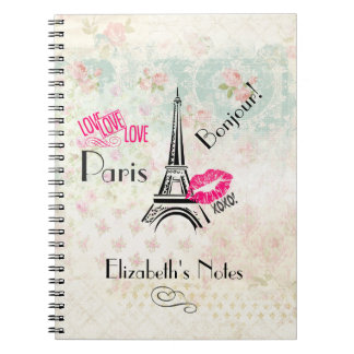 Love Paris with Eiffel Tower on Vintage Pattern Notebook