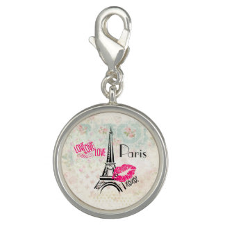 Love Paris with Eiffel Tower on Vintage Pattern Photo Charm