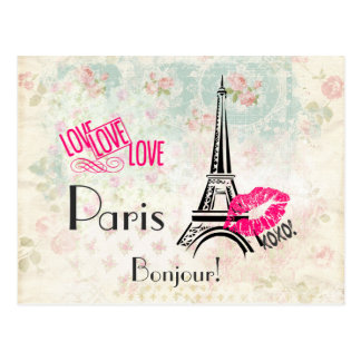 Love Paris with Eiffel Tower on Vintage Pattern Postcard