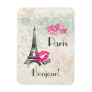 Love Paris with Eiffel Tower on Vintage Pattern Rectangular Photo Magnet