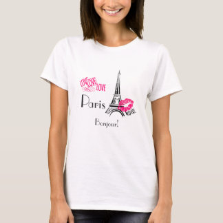 Love Paris with Eiffel Tower on Vintage Pattern T-Shirt