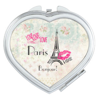 Love Paris with Eiffel Tower on Vintage Pattern Vanity Mirror