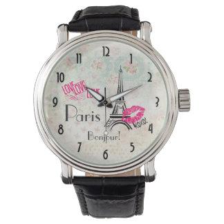 Love Paris with Eiffel Tower on Vintage Pattern Wrist Watches