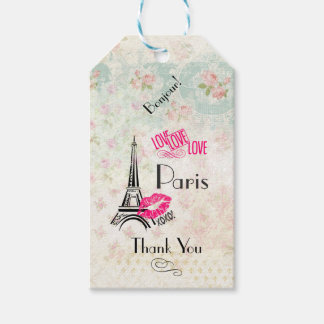 Love Paris with Eiffel Tower Thank You Gift Tags