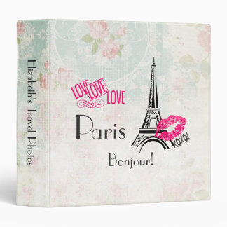 Love Paris with Eiffel Tower Travel Photos Vinyl Binders