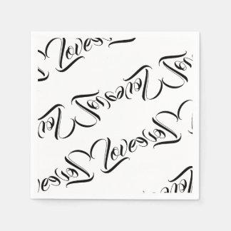 Love Patterned Design Paper Napkin