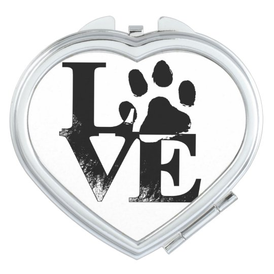 LOVE Paw Heart-Shaped Compact Vanity Mirror