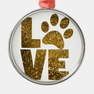 Love paw-print metal ornament