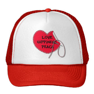 Love peace and happiness sewing heart trucker hat