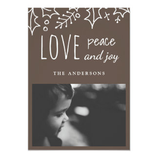 Love Peace And Joy | Beige | Holiday Photo Card