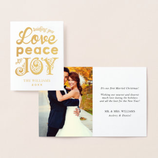 Love Peace and Joy Holiday Foil Card