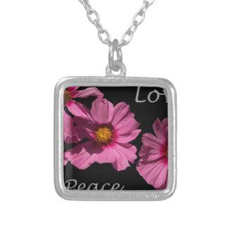 Love Peace and Joy Square Pendant Necklace