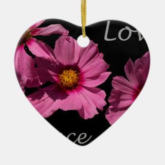 Love Peace and Joy Ceramic Heart Ornament