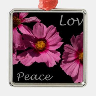 Love Peace and Joy Silver-Colored Square Ornament