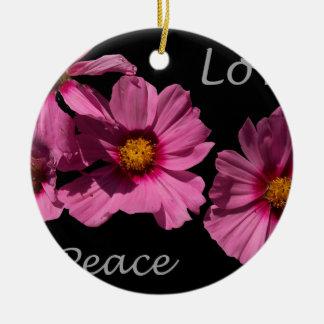 Love Peace and Joy Round Ceramic Ornament