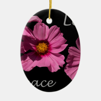 Love Peace and Joy Ceramic Oval Ornament