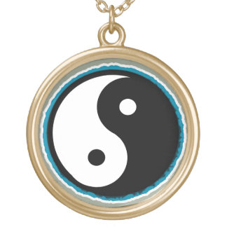 Love, Peace and Tie Dye Yin Yang Pendant Necklace