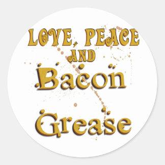 Love Peace & Bacon Grease Classic Round Sticker