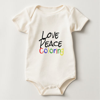Love Peace Coloring Baby Bodysuit