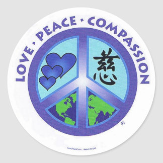 Love Peace Compassion Classic Round Sticker