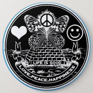LOVE PEACE HAPPINESS Button