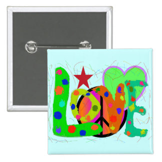 Love PEACE & Harmony T-Shirts and Gifts 2 Inch Square Button
