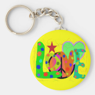 Love PEACE & Harmony T-Shirts and Gifts Basic Round Button Keychain