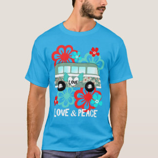 Love & Peace Hippie Flowery Camper Van Fun Graphic T-Shirt