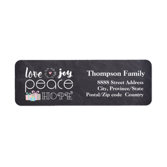 Love, Peace, Hope, Joy on Chalkboard Holiday Tag Return Address Label